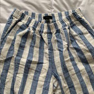 J. Crew Pants - J. Crew Blue & White Striped Linen Pants